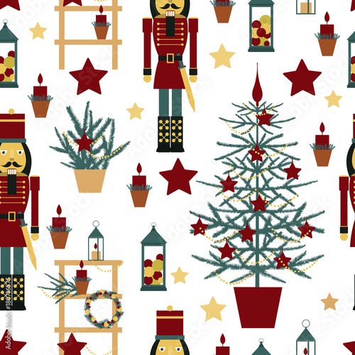 Cotton fabric Christmas seamless pattern with Nutcracker, Christmas tree, stars and lanterns.