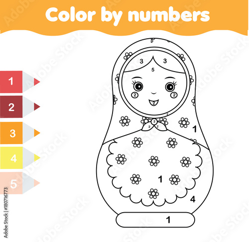Children educational game. Coloring page with matreshka doll. Color by numbers printable activity