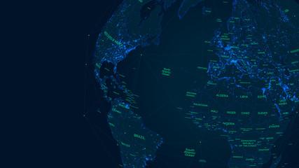 Sci-fi futuristic global network world map, Vector illustration
