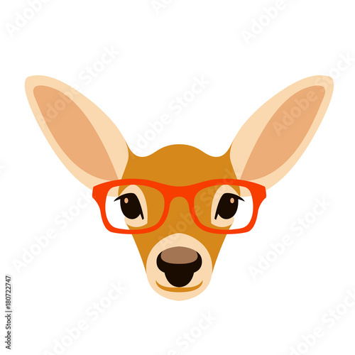 Aluminium Hipster Hert deer head in glasses vector illustration flat style front