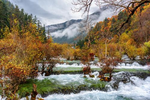 Foto op Canvas Herfst Amazing view of the Bonsai Shoals, Jiuzhai Valley National Park