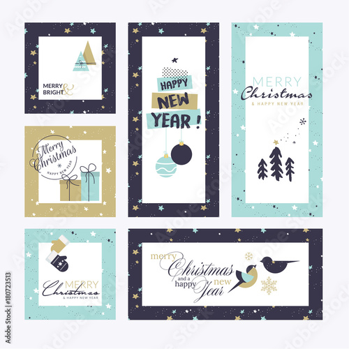 Flat design style Christmas and New Year greeting cards. Vector illustration templates for greeting cards, web banner, flayer brochure, party invitation card. - 180723513