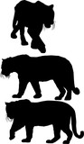 three large isolated black tiger silhouettes