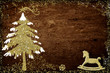 Illustrated Christmas tree and rocking horse