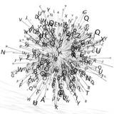 Fondo abstracto con letras.Diseño con palabras y lineas.Concepto de escritura y lectura.Comunicación y lenguaje - 180724910