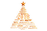 2018 new year multilingual text word cloud greeting card in the shape of a christmas tree - 180725916