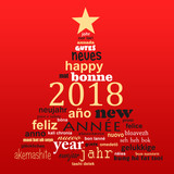 2018 new year multilingual text word cloud greeting card in the shape of a christmas tree - 180725928