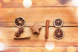 2018 written with spices with dried orange and cinnamon on wooden background with copy space, vintage new year decor - 180726197