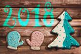 2018 christmas gingerbread cookies on wood greeting card - 180726372