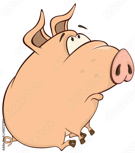 Papiers peints Chambre bébé Illustration of a Cute Pig. Cartoon Character