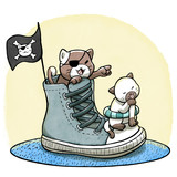 Two Kittens Playing Pirates On Sneakers  Wall Sticker