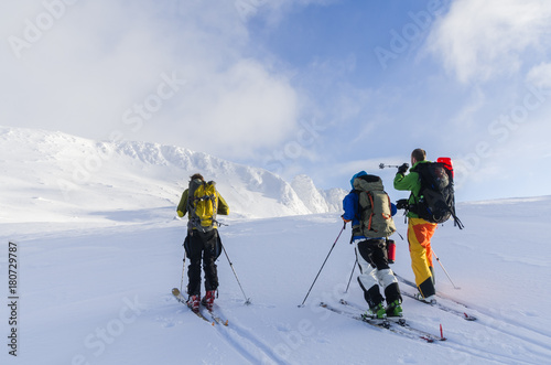 Aluminium Blauwe hemel Ski-touring in lofoten