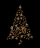 2018 christmas tree with silver metal musical notes isolated on black background - 180730155