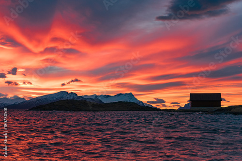 Aluminium Koraal Sunset in northern Norway