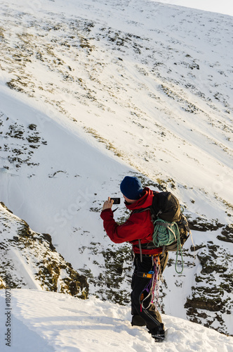 Foto op Canvas Wit Alpine climbing in northern Norway