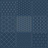 Sashiko seamless indigo dye pattern with traditional white Japanese embroidery - 180733798