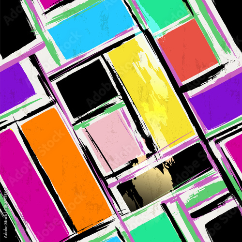 Aluminium Abstract met Penseelstreken seamless background composition, with squares, paint strokes and splashes, diagonal