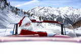 Santa Clasu car and winter road.  - 180744559