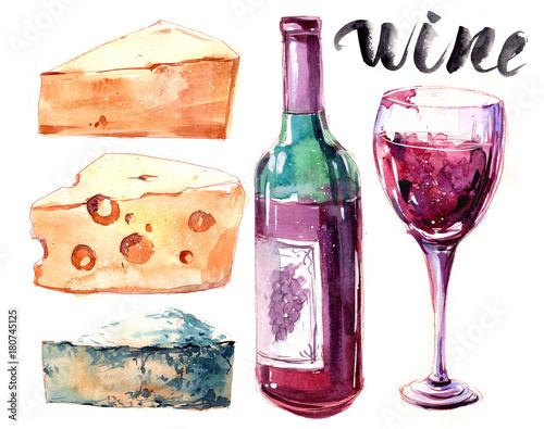 akwarela-z-serem-butelka-czerwonego-wina-i-szkla