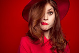 woman, hair, hat, red background - 180748500
