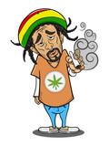 The Man smoking canabis cartoon vector