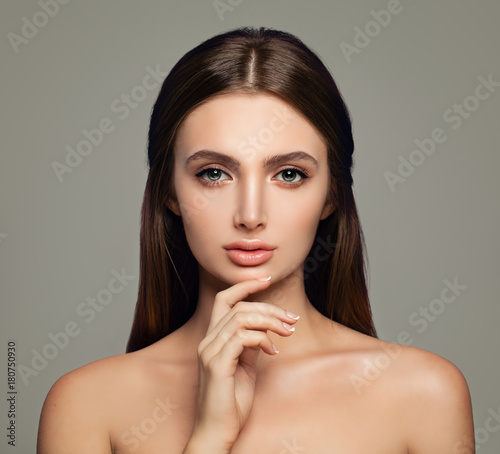 Spa Beauty Woman with Healthy Skin. Cute Female Face