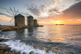 Sunrise image of the iconic windmills in Chios town.  - 180751536