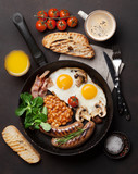 English breakfast. Fried eggs, sausages, bacon - 180757734