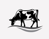 feeding cow stylized vector silhouette - 180758510