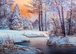 Christmas forest with river - 180759368