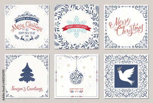 Ornate square winter holidays greeting cards with new year tree ornate square winter holidays greeting cards with new year tree reindeers christmas ornaments m4hsunfo