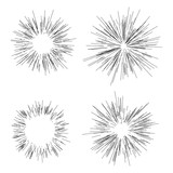 Sun burst, star burst sunshine. Radiating from the center of thin beams, lines. Dynamic style. Abstract explosion, speed motion - 180764348
