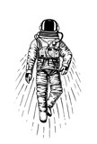 astronaut spaceman. planets in solar system. astronomical galaxy space. cosmonaut explore adventure. engraved hand drawn in old sketch, vintage style for label or T-shirt. - 180764997