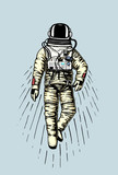 astronaut spaceman. planets in solar system. astronomical galaxy space. cosmonaut explore adventure. engraved hand drawn in old sketch, vintage style for label or T-shirt. - 180765178