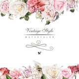 Greeting card with roses, watercolor, can be used as invitation card for wedding, birthday and other holiday and  summer background. - 180765344