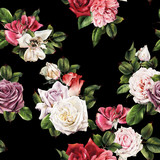 Seamless floral pattern with roses, watercolor. - 180765564