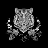White embroidery realistic texture tiger face patch. Fashion floral print textile decoration design with inscription vector illustration