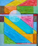An abstract painting; linear and geometric with an overlaid circle. - 180768945