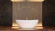 Bath in modern illuminated bathroom
