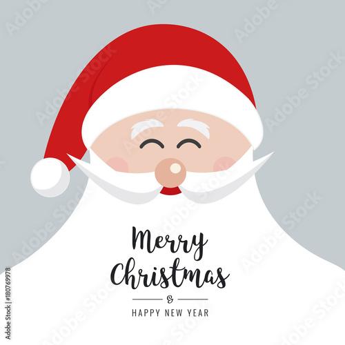 santa claus face smile big beard christmas gretting text card background