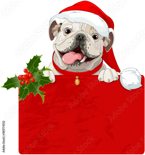 Tuinposter Sprookjeswereld Christmas English bulldog