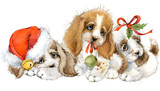 Dog year greeting card. cute puppy watercolor illustration. - 180776584