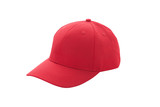 Baseball cap red templates, front views isolated on white background - 180777951