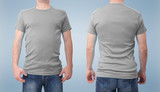 Shirt design and people concept - close up of man in blank white t-shirt front and rear isolated. Clean empty mock up tamplate for design set. - 180778189