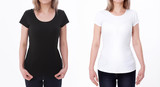 Shirt design and people concept - close up of young woman in blank white tshirt front and rear isolated. Mock up template for design print - 180778500
