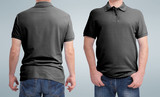 Shirt design and people concept - close up of man in blank white t-shirt front and rear isolated. Clean empty mock up template for design set. - 180778518