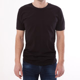 t-shirt design and people concept - close up of young man in blank black t-shirt, shirt front and rear isolated. - 180778551