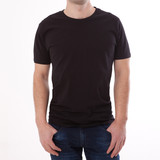 t-shirt design and people concept - close up of young man in blank black t-shirt, shirt front and rear isolated. - 180778557