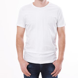 t-shirt design and people concept - close up of young man in blank white t-shirt, shirt front and rear isolated. - 180778584