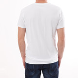 t-shirt design and people concept - close up of young man in blank white t-shirt, shirt front and rear isolated. - 180778592